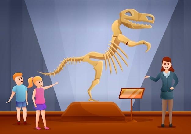Banner de concepto de museo de excursión de dinosaurios, estilo de dibujos animados Vector Premium