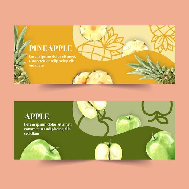 Banner con el concepto de piña y manzana, ilustración colorida creativa. vector gratuito