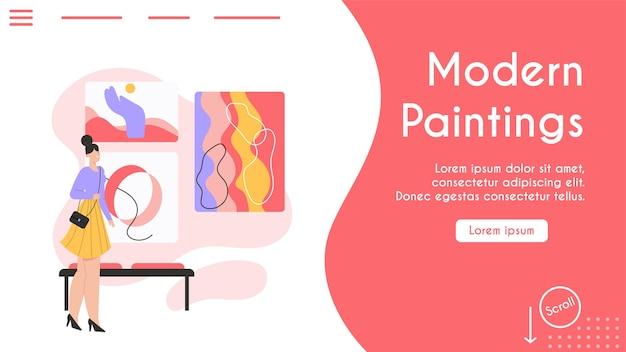 Banner del concepto de pinturas modernas. Vector Premium
