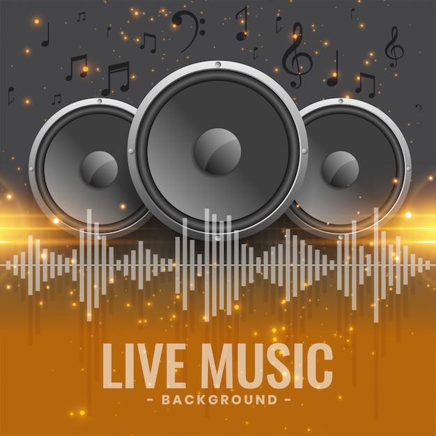 Banner de concierto de música en vivo con parlantes. vector gratuito
