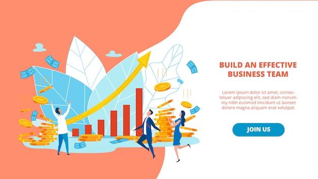 Banner construye un equipo de negocios efectivo. Vector Premium