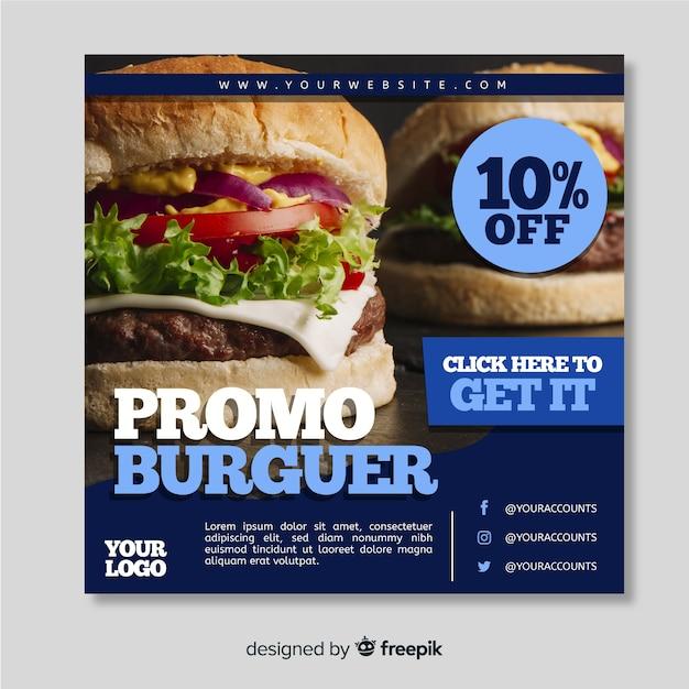 Banner cuadrado con alimentos vector gratuito