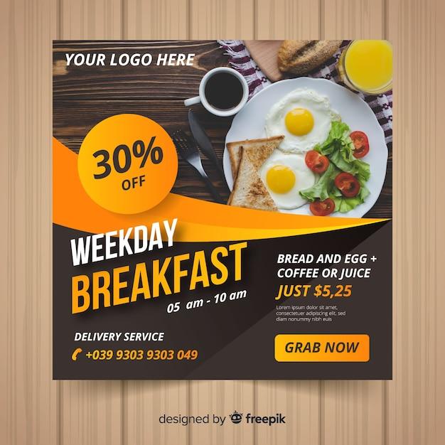 Banner cuadrado de comida con foto vector gratuito