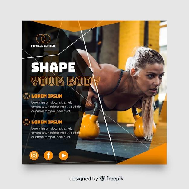 Banner cuadrado de deporte con imagen vector gratuito