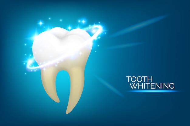Banner de cuidado dental y blanqueamiento dental. conjunto de ilustración de higiene oral, estilo realista. odontología o estomatología Vector Premium