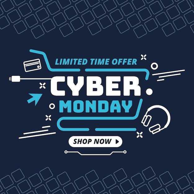 Banner de cyber monday de diseño plano vector gratuito