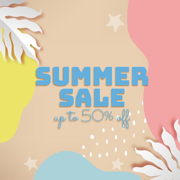 Banner de venta de verano con hojas de color púrpura tropical de ...