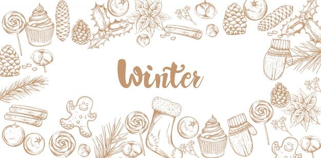 Banner de decoraciones de invierno con adornos Vector Premium