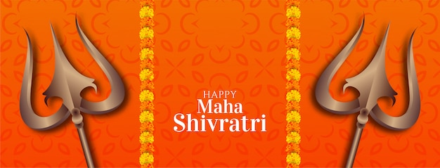 Banner decorativo abstracto maha shivratri Vector Premium