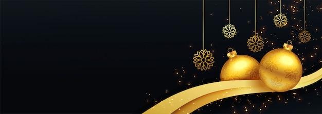 Banner decorativo de feliz navidad negro y oro vector gratuito