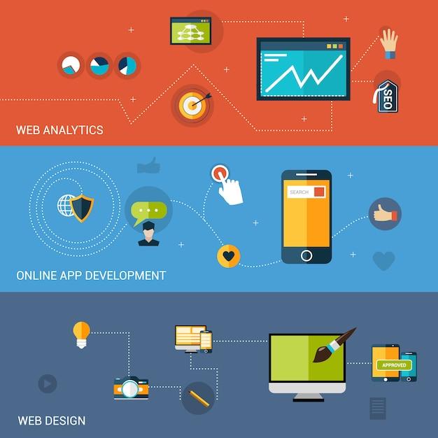Banner de desarrollo web vector gratuito