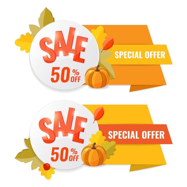 Banner de descuento venta otoño con cinta, calabaza y hojas de otoño. Vector Premium