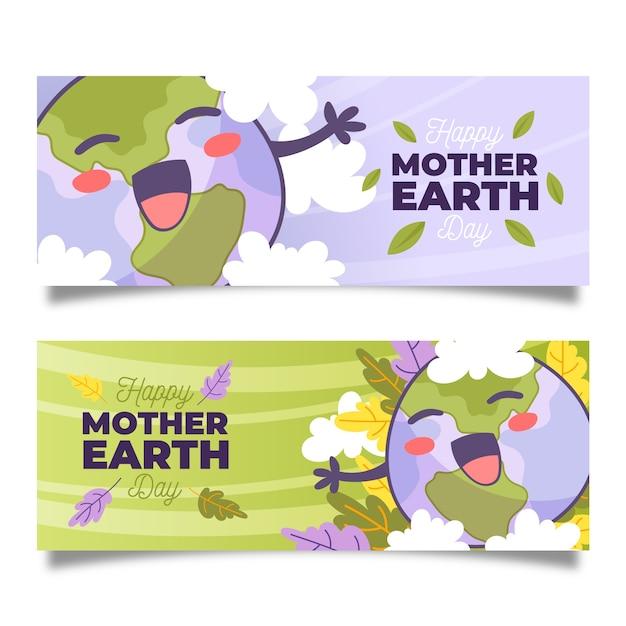 Banner del día de la madre tierra dibujado a mano vector gratuito