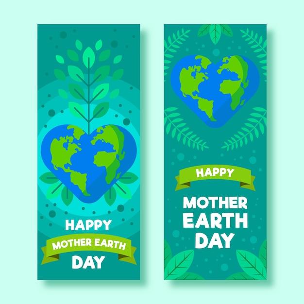 Banner del día de la madre tierra con hojas y cinta vector gratuito