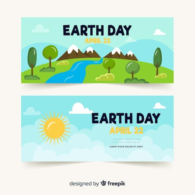 Banner día de la madre tierra paisaje dibujado a mano vector gratuito