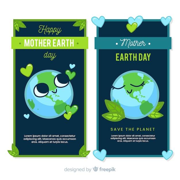 Banner día de la madre tierra planeta adorable vector gratuito