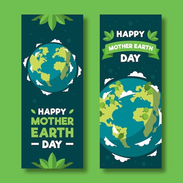 Banner del día de la madre tierra con planeta y hojas vector gratuito