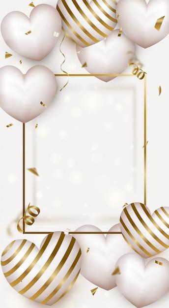 Banner para el día de la mujer o el día de la madre. tarjeta de felicitación del día de san valentín con corazones de aire lindo. Vector Premium