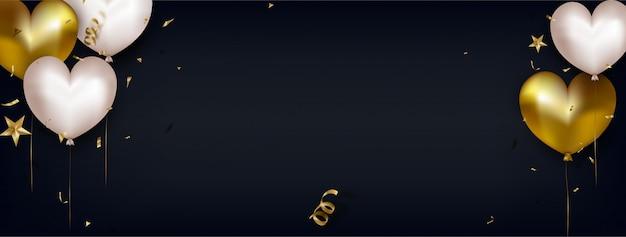 Banner para el día de la mujer o el día de la madre. tarjeta de felicitación de san valentín con lindos corazones de aire blanco y oro en negro horizontal. Vector Premium