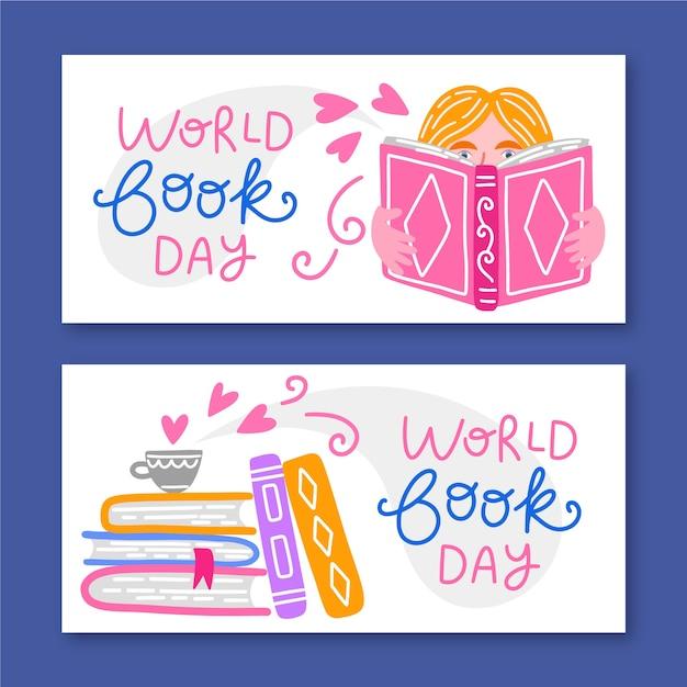 Banner del día mundial del libro dibujado a mano vector gratuito
