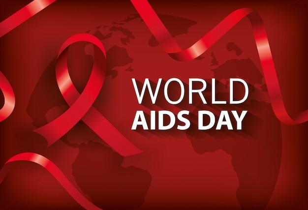 Banner día mundial del sida con cinta vector gratuito