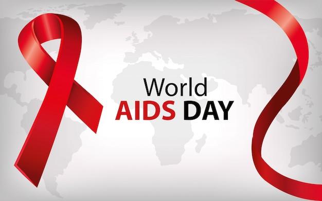 Banner del día mundial del sida con cinta Vector Premium