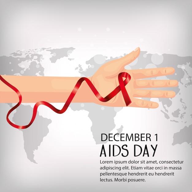 Banner del día mundial del sida con mano y cinta Vector Premium