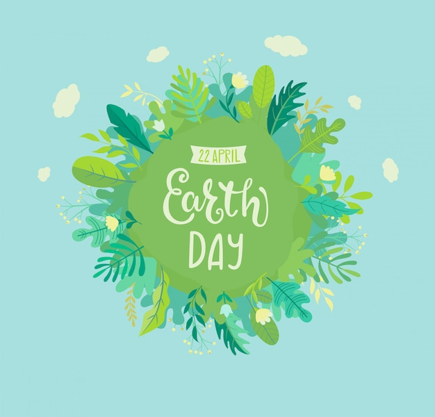 Banner para el día de la tierra para la celebración de la seguridad ambiental. Vector Premium