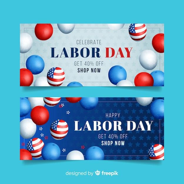 Banner del día del trabajo para ventas con globos americanos vector gratuito