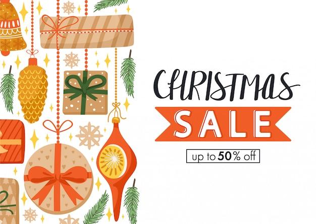 Banner dibujado a mano de venta de navidad Vector Premium