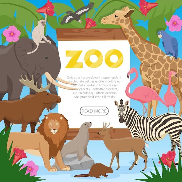 Banner de dibujos animados de zoológico vector gratuito