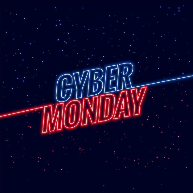Banner de diseño de texto de neón estilo ciber lunes vector gratuito