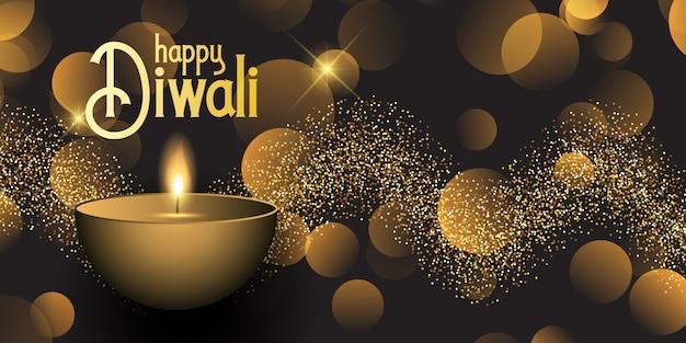 Banner de diwali con luces bokeh y diseño de purpurina vector gratuito
