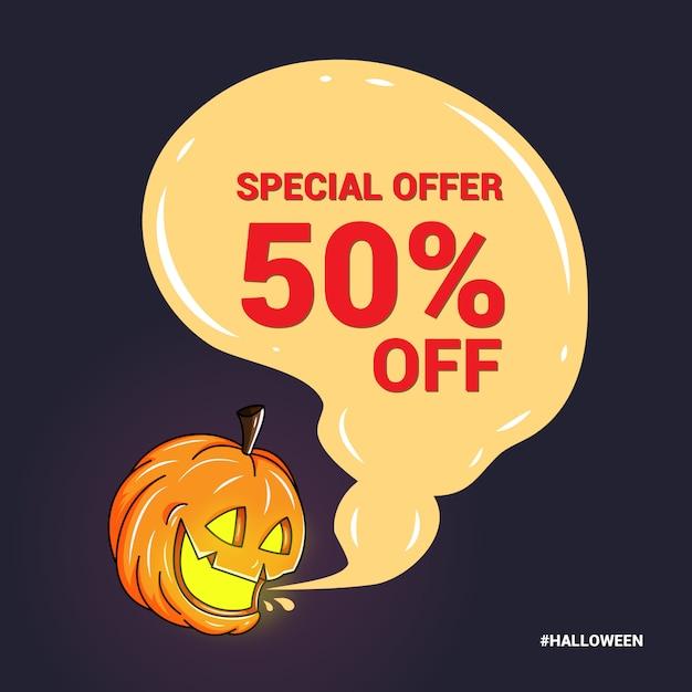 Banner especial para promoción en halloween Vector Premium