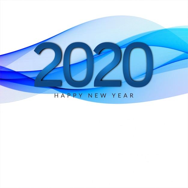Banner de estilo de onda de año nuevo 2020 vector gratuito