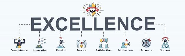Banner de excelencia web icon para empresas. Vector Premium