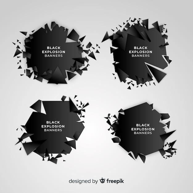 Banner de explosión oscura vector gratuito
