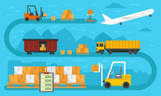 Banner de exportación de bienes del mundo Vector Premium