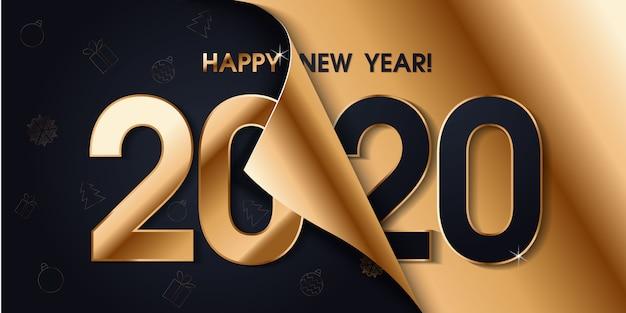 Banner de feliz año nuevo 2020 Vector Premium