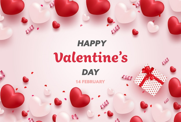 Banner de feliz día de san valentín con corazones de lujo rojo y rosa y elementos encantadores. Vector Premium