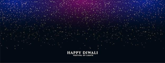 Banner de feliz diwali con destellos cayendo vector gratuito