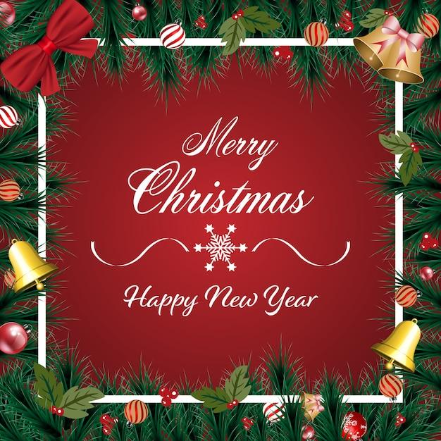 Banner de feliz navidad con adornos navideños, ramas de pino verde sobre fondo rojo Vector Premium