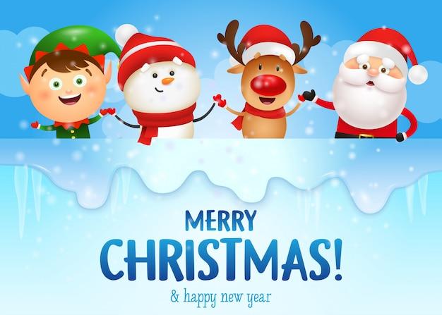 Banner de feliz navidad y feliz año nuevo con personajes divertidos vector gratuito