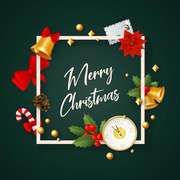 Banner de feliz navidad en marco con decoración en tierra verde vector gratuito