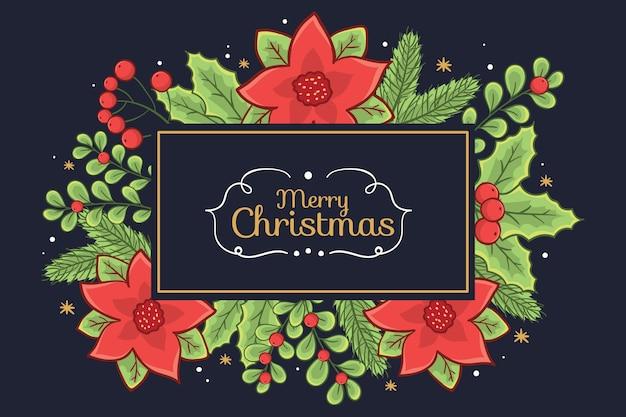 Banner de feliz navidad rodeado de flores de muérdago y flor de pascua vector gratuito