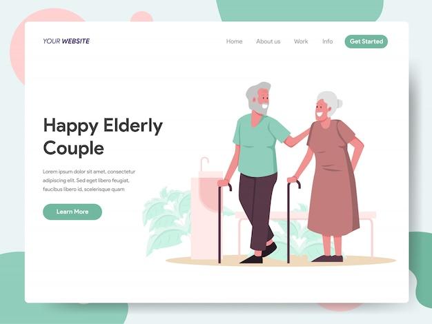 Banner de feliz pareja de ancianos para página de inicio Vector Premium
