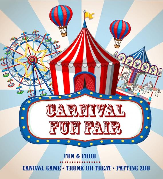 Banner de feria de carnaval colorido vector gratuito