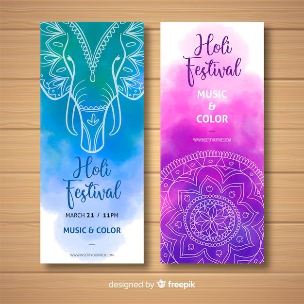 Banner festival holi acuarela vector gratuito