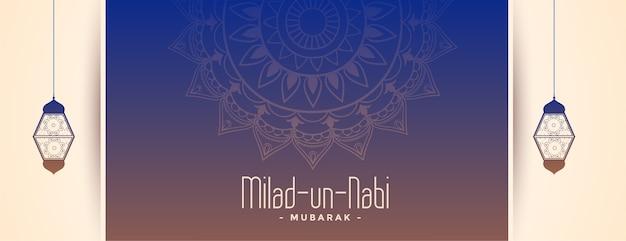 Banner del festival milad un nabi con decoración de lámparas. vector gratuito