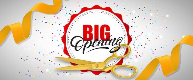 Banner festivo de gran apertura con confeti, tijeras de oro, cintas amarillas vector gratuito